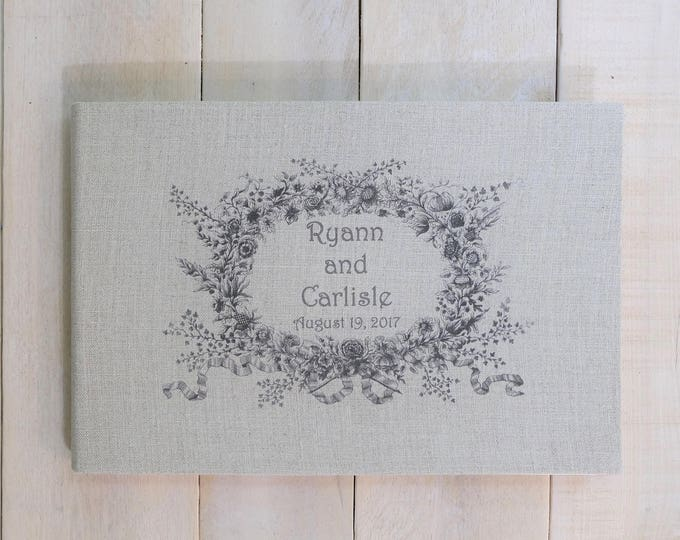 Personalized Linen Wedding Guest Book with Vintage Style Wreath