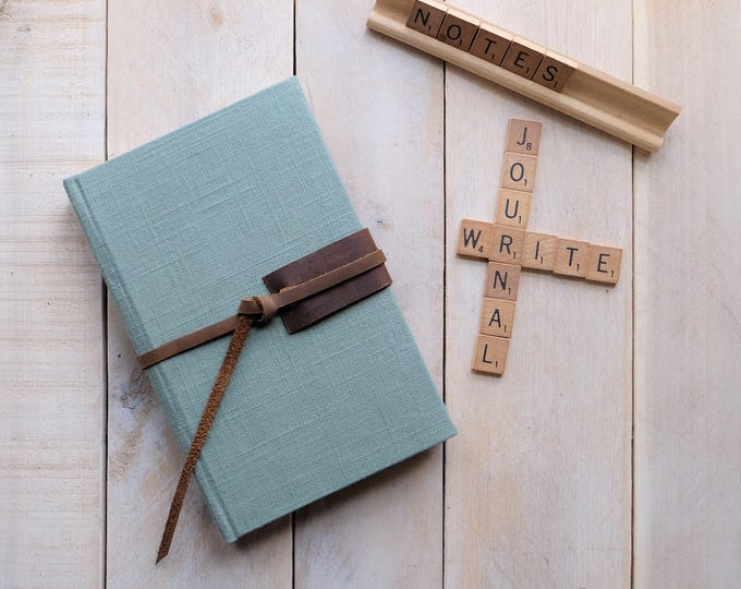 Linen and Leather Sketchbook with Leather Tie in Sea Glass Green