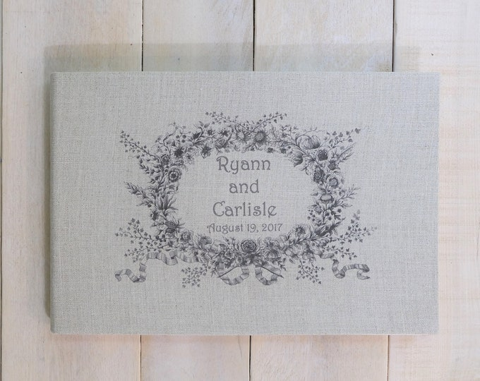 Personalized Linen Guest Book with Vintage Style Wreath