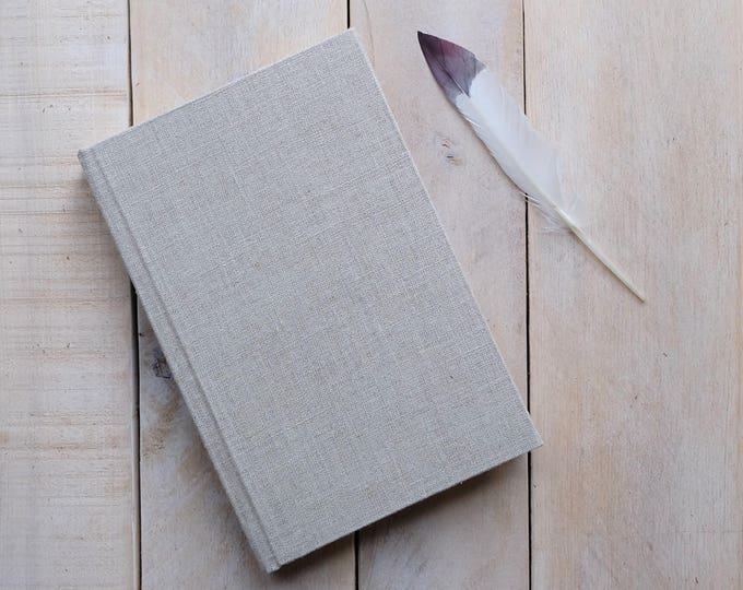 Natural Linen Journal or Sketchbook, Writing Journal, Unlined Notebook, Blank Journal, Blank Diary, Blank Notebook