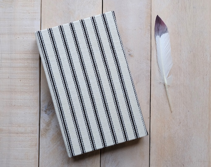Vintage Linen Stripe Journal or Sketchbook, Farmhouse Cream and Black, Lined or Unlined