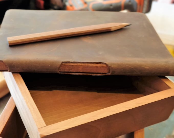 Leather Carpenter Sketchbook, Lined Journal, Dot Grid or Graph Paper with Built-In Wood Carpenters Pencil