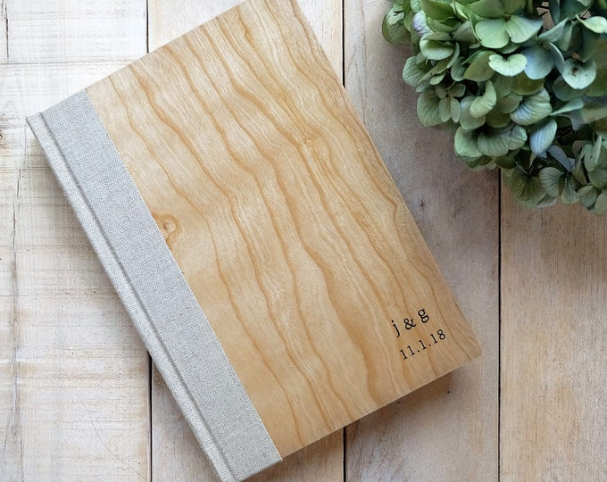 Wood Journal or Sketchbook in Natural Cherry Wood and Linen, with Personalization Included