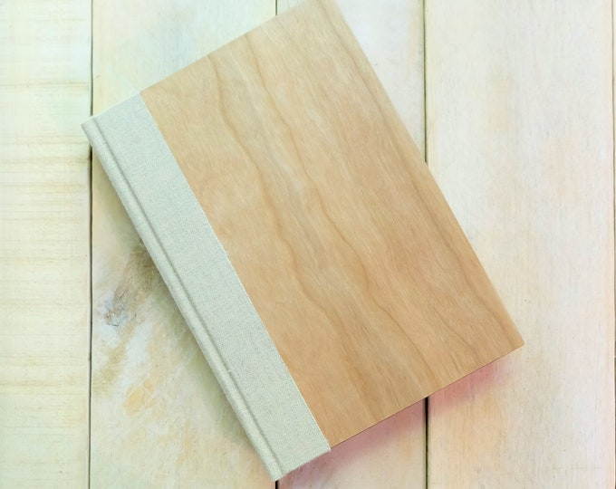 Wood Sketchbook or Journal in Natural Cherry Wood and linen, with Personalization Included