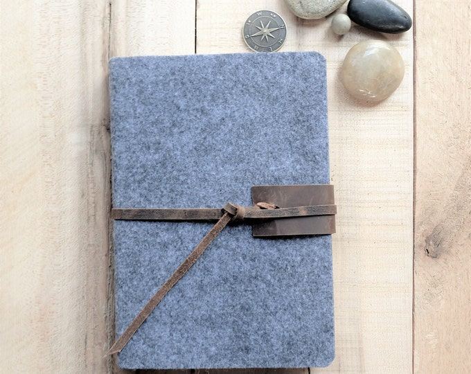 Wool and Leather Journal in Gray