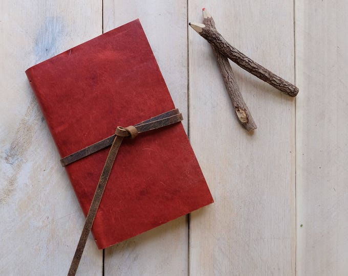 Leather Watercolor Sketchbook in Tomato Red