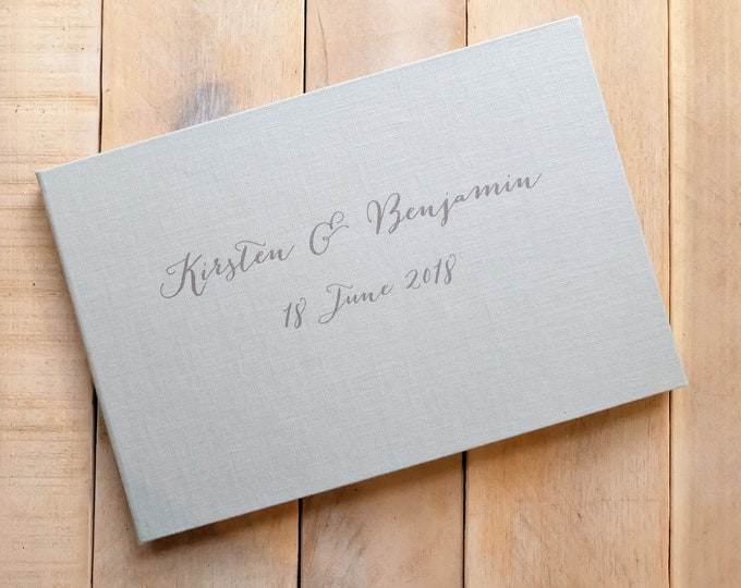 Personalized Linen Guest Book with Contemporary Script
