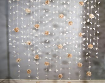 Paper Flower Curtain Etsy