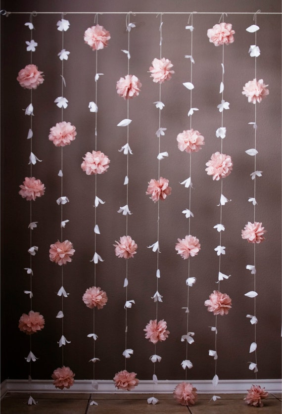 Paper Flower And Tissue Paper Puff Garland Etsy