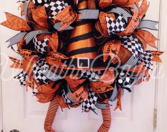 Halloween Wreath Witch Wreath with Legs Deco Mesh Wreath Halloween Deco Mesh *MADE TO ORDER*