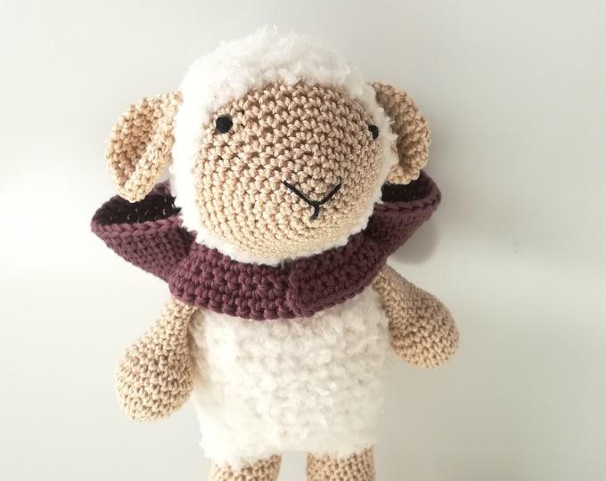 "Featured listing image: Amigurumi, Sheep Amigurumi, puppet, children's toy, gift idea ""brave sheep"""