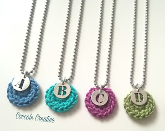 Necklace with initials-gift idea-accessory-crochet necklace