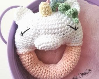 "Rattle ""Magical unicorn""-baby rattle-rattle crochet-rattle crochet for babies"