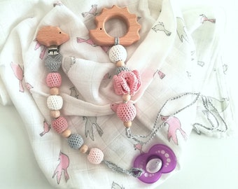 "Set of teething and matching bottle holder ""Riccetta""-Teethingtoy, pacifier clip, gift"