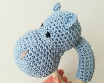 "Teething ring and Amigurumi puppet ""Happy Ippo""-Amigurumi hippopotamus, teething ring, gift idea"