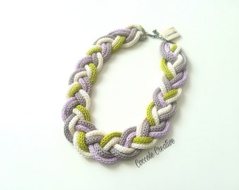 "Women's Necklace ""lilac and green weave"", gift idea, women's accessories"