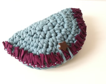 Crescent Turquoise clutch bag-crochet woman handbag