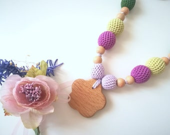 "Nursing Necklace in wood and cotton ""Mamma's Love"""