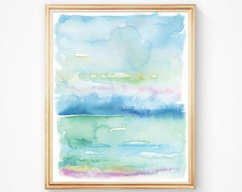 Beach Art - Nautical Watercolor Painting - Art Print - Ocean Crystal Clear Waters - Modern Watercolor - Tranquility - Simple Watercolor Art
