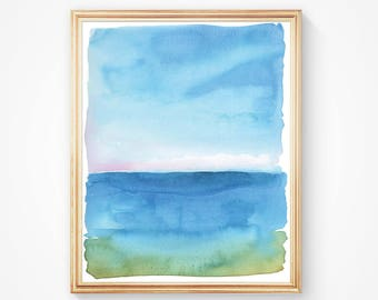 Teal Blue Ocean Art - Nautical Watercolor Painting - Art Print - Ocean - Modern Watercolor - Tranquility - Simple Watercolor Art