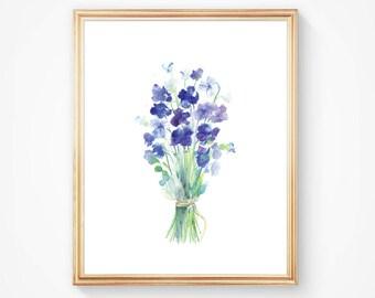Violets - Watercolor Flower Bouquet - Floral Watercolor Art Print - Blue Flower bunch - Art Home Decor - Gift