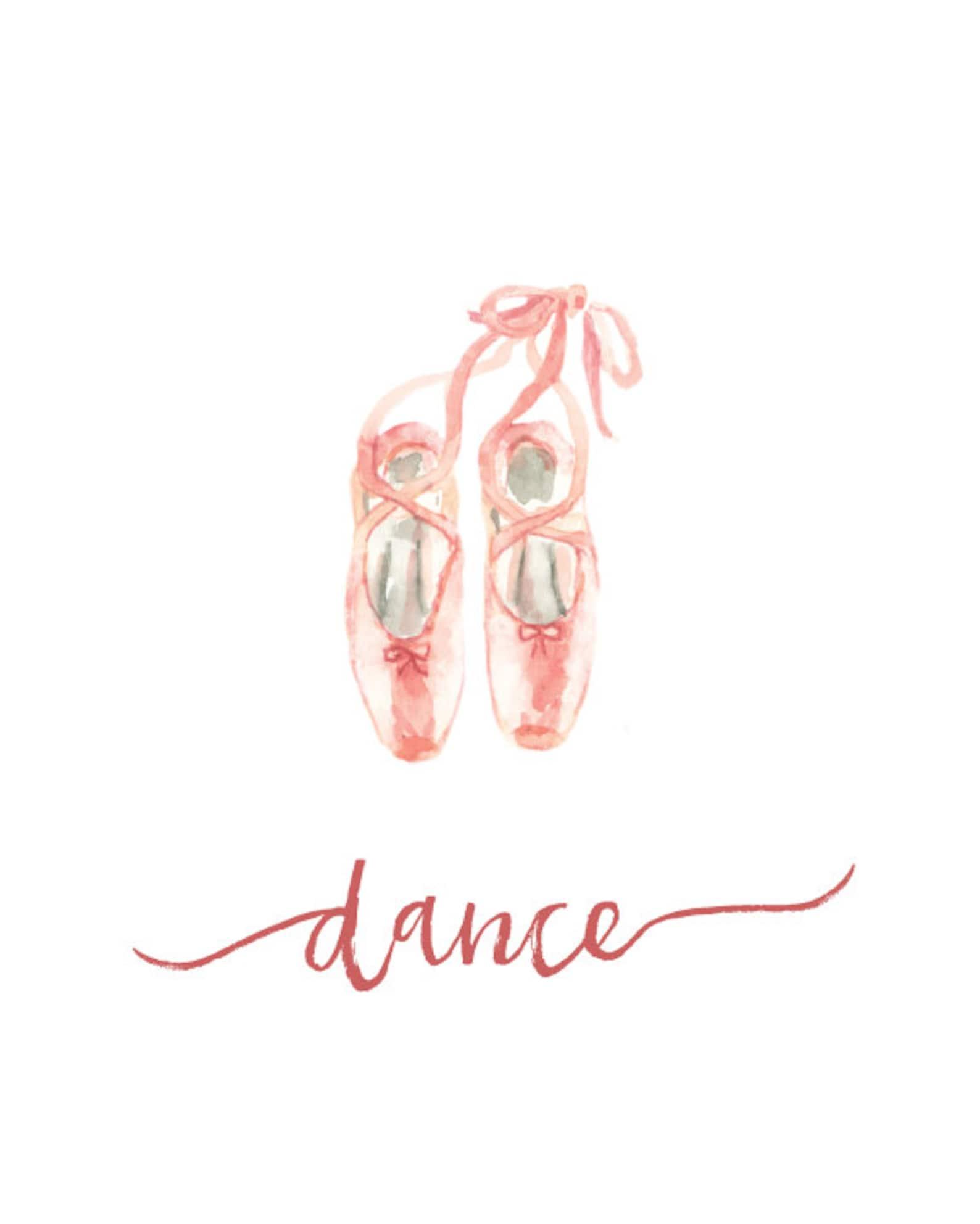 ballet art print - pink ballet shoes - dance - watercolor art print - nursery decor - various sizes - modern art