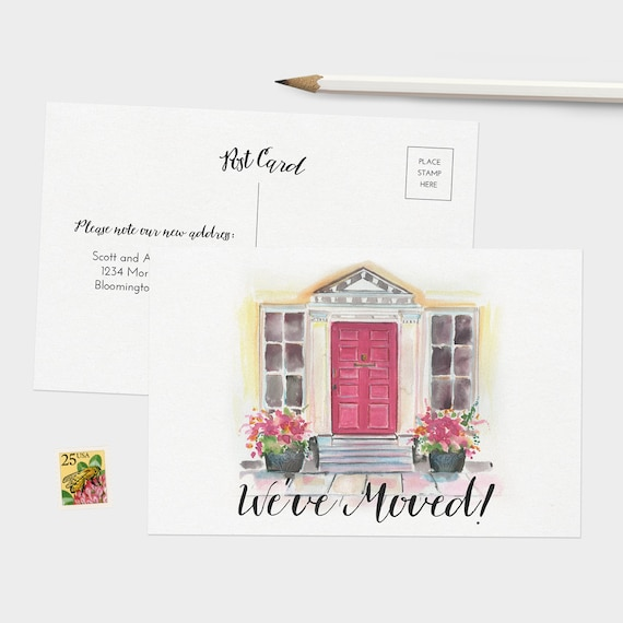 We Ve Moved Postcards Watercolor Moving Announcement Cards Set Of 15 30 Or 60 Change Of Address