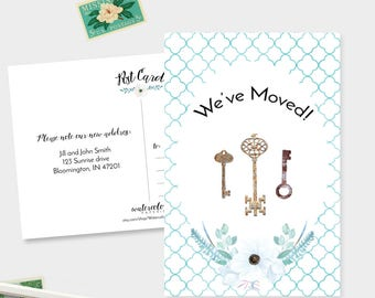 We've Moved Postcards - Watercolor Moving Announcement Cards - Set of 15, 30, or 60 - Change of Address -Keys  - Floral