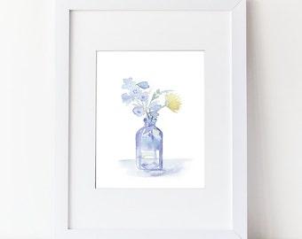 Watercolor Flower Bouquet - Floral Watercolor Art Print -Modern Blue Floral Art Home Decor