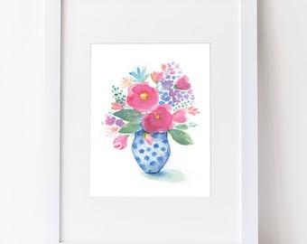 Watercolor Flower Bouquet - Floral Watercolor Art Print - Pink Blue and Purple Flower Art Home Decor