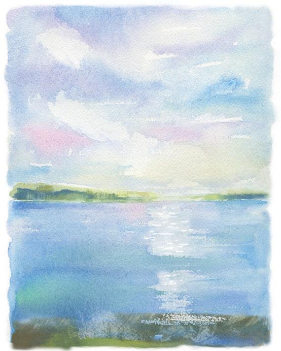 Lakeside Art Nautical Watercolor Painting Art Print Modern Watercolor Tranquility Simple Watercolor Art