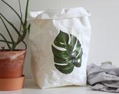 Paper bag storage, Monstera, Botanical print, washable paper bag, Minimalistic, Cheese Plant