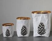 Paper bag storage, Pine Cone, Woodland, Minimalistic, Nordic, Scandinavian, Stylish storage, organized home, natural, eco, Christmas, gift