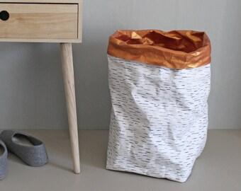 Sac en papier, très grand sac de rangement, panier à linge, entraver, lavable en papier, conception de bouleau, nordique, scandinave, style rustique