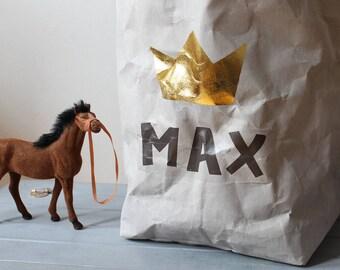 Sac personnalisé, sac de rangement de papier, Extra Large, gris papier lavable, feuille d'or, rangement jouet, enfant, rangement chambre d'enfant