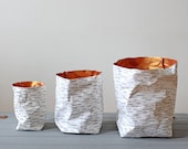 Paper bag, washable paper, Birch Bark design, Nordic Style, Natural, Rustic, desk organizer, planter, wedding decor, Scandinavian, eco