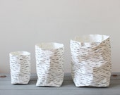 Storage basket, washable paper, Birch tree, Nordic look, Scandinavian style, home decor, minimalist interior, simple living, eco, green