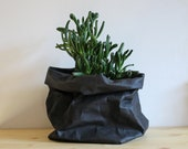 Black paper bag, washable paper, storage bag, basket, bin, pot, planter, Minimalist, Simple living, Rustic, wabi sabi