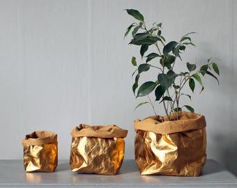 Gold Paper bag, washable paper, rose gold, gold, storage bag, basket, Wedding décor, hamper bag, unique gift, eco chic, luxury