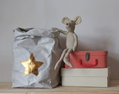 Nursery storage, star bag, hamper bag, washable paper bag, paper basket, nursery decor, toy storage