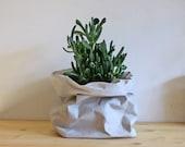Grey bag, Paper sack, Paper bag storage, Grey washable paper, toy storage, planter, hamper, minimalistic, plastic or planet?