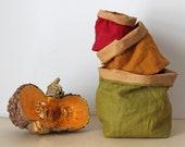 Linen basket, colourful linen, brown washable paper, baby shower, nursery decor, kids room storage, red, green, mustard
