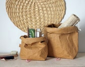 Make up bag | made from washable paper | Cosmetic bag | Tan suede | Ocre shade  | Wash bag | Faux leather | Brown paper bag | Vegan