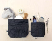 Black washable paper wash bag, cosmetic bag, toiletry bag, purse, pouch, minimalistic, simple, Men's Toiletry case, Father's Day, black bag