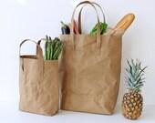 Kraft Paper bag, Large washable paper bag, shoulder bag, shopping bag, tote, shabby chic look, environmentally friendly, simple bag