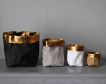 Washable paper bags with gold trim, stylish storage, home decor, desk organizer, eco chic, luxury, glamour, wedding decor