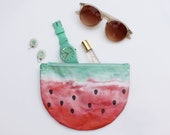Watermelon design bag, cosmetic pouch, wash bag, made from Washable Paper, half moon bag, summer accessory, fruit design