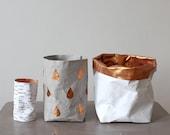 Basket, Rain drop pattern paper bag, grey and copper, washable paper, toy storage, kids room decor, nursery storage, hamper, modern home