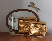 Gold Make up bag | made from washable paper | Cosmetic bag | Toiletry storage bag | Wash bag | Bathroom Storage