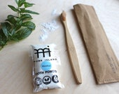 Bamboo toothbrush, tooth powder, washable paper sleeve, vegan, eco friendly, nature kind, zero waste, plastic free